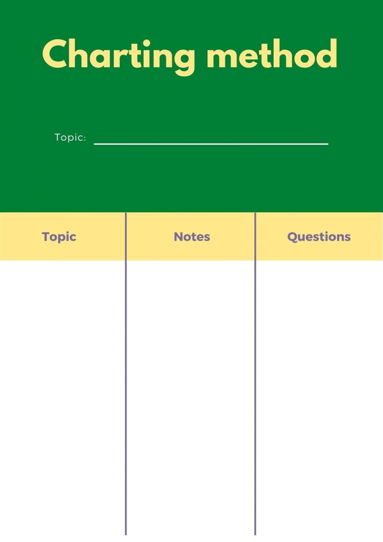 Charting method! - note taking strategies for college